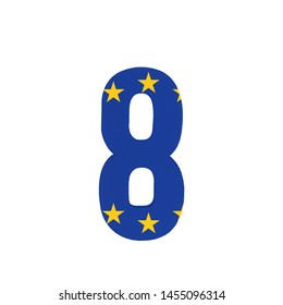 Number eight or 8 with the Flag of the European Economic Community