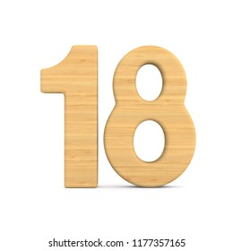 Number eighteen on white background. Isolated 3D illustration