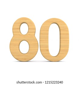 Number eighty on white background. Isolated 3D illustration