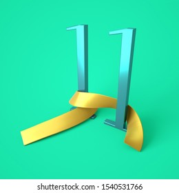 Number eleven with gold ribbon, 11th day of the month, birthday - 11 years, 3d rendering
