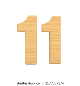 Number eleven on white background. Isolated 3D illustration