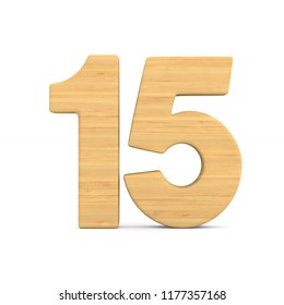 Number fifteen on white background. Isolated 3D illustration