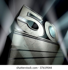Number fifty in silver letters on a silver pedestal