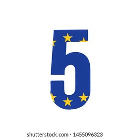 Number five or 5 with the Flag of the European Economic Community