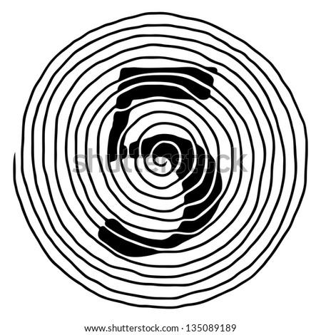 Number Five Abstract Spiral Raster Illustration Stock Illustration