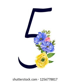 Number five with hand drawn watercolor bouquet of flowers isolated on white background. Design element for invitations, tattoo, monogram, cypher