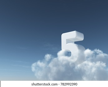 number five on clouds - 3d rendering