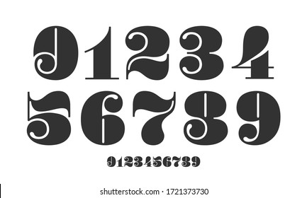Number font. Font of numbers in classical french didot or didone style with contemporary geometric design. Beautiful elegant numerals. Vintage and old school retro typographic. Illustration