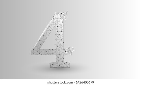 number four 2D low poly abstract illustration consisting of points, lines, and shapes in the form of planets, stars and the universe. Origami raster digit 4 wireframe.