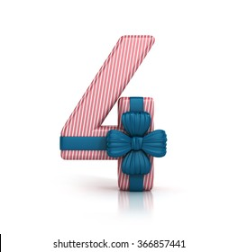 Number Four, 4, decorated with Ribbon isolated on white background. 3d render illustration isolated