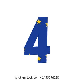 Number four or 4 with the Flag of the European Economic Community