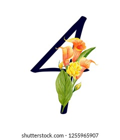 Number four with hand drawn watercolor bouquet of flowers isolated on white background. Design element for invitations, tattoo, monogram, cypher