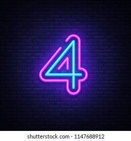 Number Four symbol neon sign . Number Four template neon icon, light banner, neon signboard, nightly bright advertising, light inscription. illustration.
