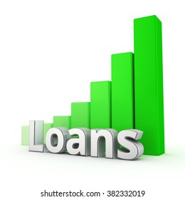The number of loans is growing rapidly. Word Loans against the green rising graph. 3D illustration image
