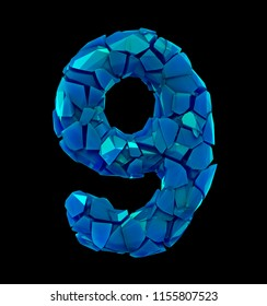 Number nine 9 in a 3D illustration made of broken plastic blue color isolated black background