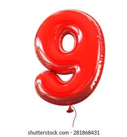 number nine - 9 balloon font