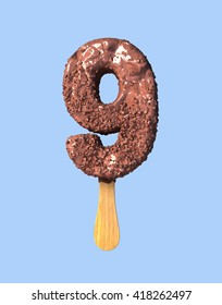 Number Nine, 9. Chocolate Ice Cream Font Concept. 3d rendering isolated