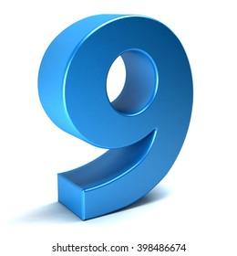 Number Nine 9 color blue icon. 3D rendering illustration