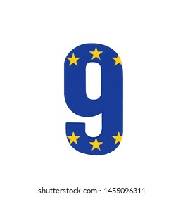Number Nine or 9 with the Flag of the European Economic Community