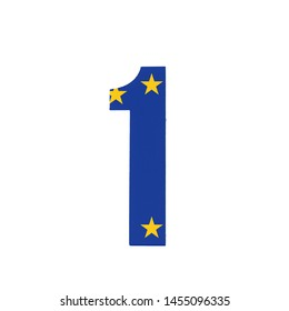Number One or 1 with the Flag of the European Economic Community