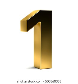 Number One Golden Typeface. 3D Render Illustration