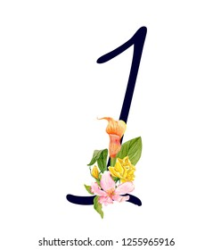 Number one with hand drawn watercolor bouquet of flowers isolated on white background. Design element for invitations, tattoo, monogram, cypher