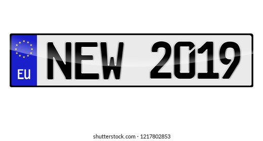 Number plate 2019 Happy New Year. Vehicle registration plates of Europe