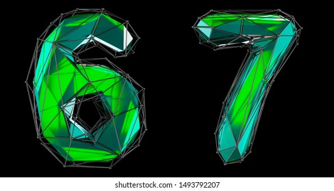 Number set 6, 7 made of green color glass. Collection symbols of low poly style green color glass isolated on black background 3d rendering