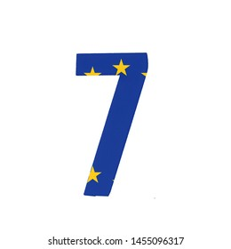 Number seven or 7 with the Flag of the European Economic Community