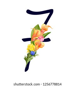 Number seven with hand drawn watercolor bouquet of flowers isolated on white background. Design element for invitations, tattoo, monogram, cypher
