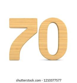 Number seventy on white background. Isolated 3D illustration