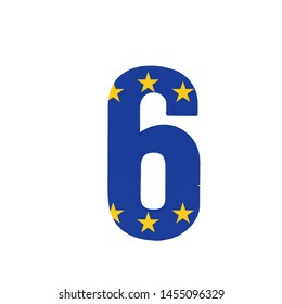 Number six or 6 with the Flag of the European Economic Community