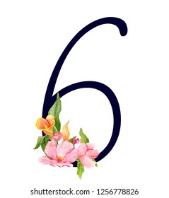 Number six with hand drawn watercolor bouquet of flowers isolated on white background. Design element for invitations, tattoo, monogram, cypher