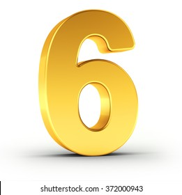 The number six as a polished golden object over white background with clipping path for quick and accurate isolation.