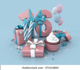 Number Sixteen, 16, Decorated With Ribbon, Birthday Cupcake, Rockets, and Wrap Gifts. Birthday Concept Invitation. 3d render Illustration Isolated On Blue Background