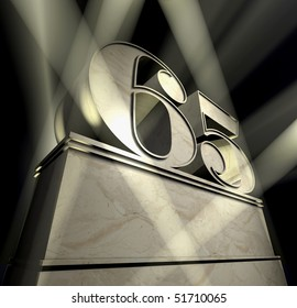 Number sixty-five in silver letters on a silver pedestal