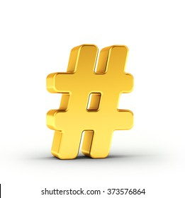 The Number symbol as a polished golden object over white background with clipping path for quick and accurate isolation.