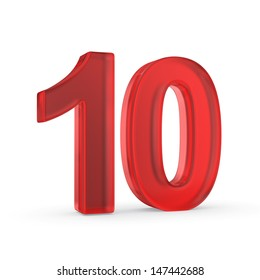 Number ten - red isolated with clipping path