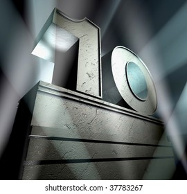 Number ten in silver letters on a silver pedestal