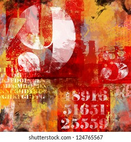 number and text abstract collage with red and orange grunge elements