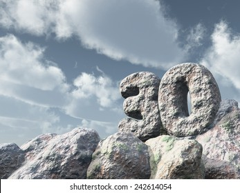 number thirty rock under cloudy blue sky - 3d illustration