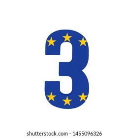Number three or 3 with the Flag of the European Economic Community