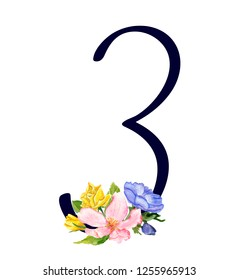 Number three with hand drawn watercolor bouquet of flowers isolated on white background. Design element for invitations, tattoo, monogram, cypher