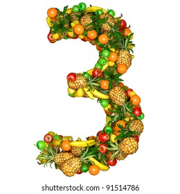 Number three made from 3d fruits. Isolated on a white.