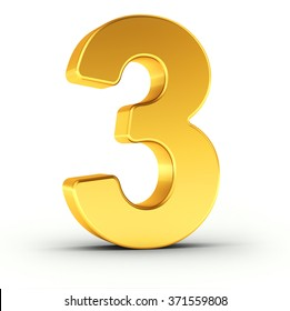 The number three as a polished golden object over white background with clipping path for quick and accurate isolation.