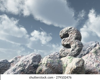 number three rock under cloudy blue sky - 3d illustration
