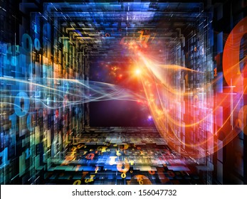 Number Tunnel series. Abstract design made of colorful numbers and light waves in perspective on the subject of computers, mathematics, science and education
