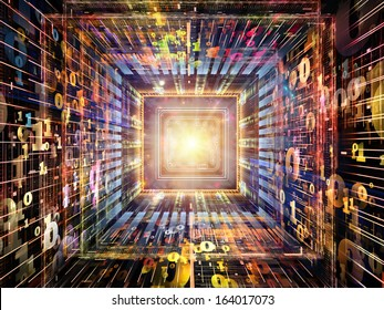 Number Tunnel series. Composition of CPU chip, colorful numbers and fractal elements in perspective on the subject of computers, mathematics, science and education