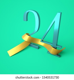 Number twenty four with a gold ribbon, the 24th day of the month, birthday - 24 years, 3d rendering
