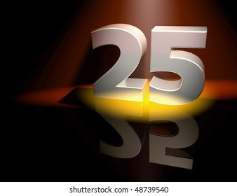 Number twenty-five in silver letters on a coloured background